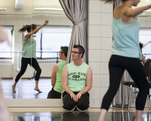Sean Dorsey Dance works with students in the Plavin studios on Thursday. Dorsey, an award-winning San Francisco-based choreographer, dancer and writer, is recognized as the U.S.' first acclaimed transgender modern dance choreographer.